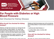 For People with Diabetes or High Blood Pressure: Get Checked for Kidney Disease Factsheet