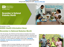 National Diabetes Month - NIDDK Email